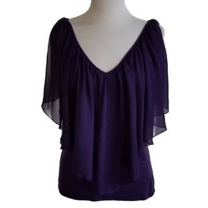 Venus Cold Shoulder Purple Flutter Top